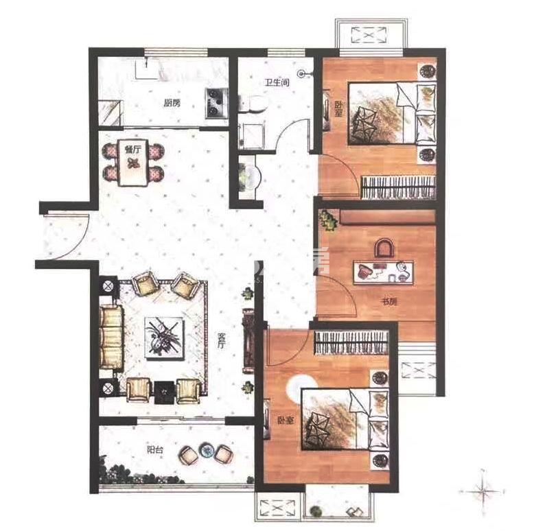 C户型建筑面积约106㎡三室两厅一卫