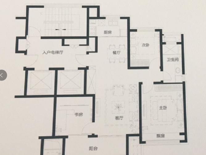 蓝城沁园110平三室两厅一卫户型图