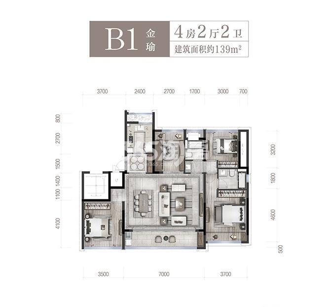 中旅名门府B1户型139方(1、2、3、6#)