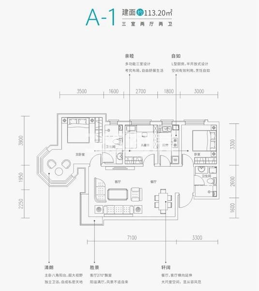 铂悦·兴隆府项目户型图(建面约113.2㎡)