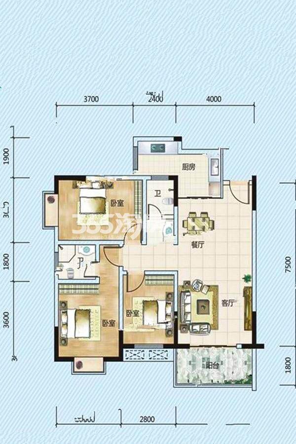 B户型 3室2厅2卫 103