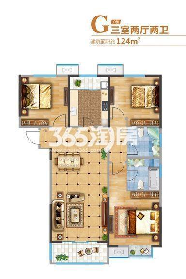 悦美国际2期7#/8#/11#G户型3室2厅1厨2卫124.00㎡