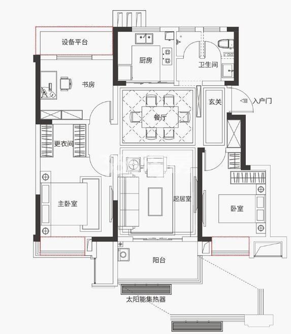 金科海昱东方97㎡Y1户型三室两厅
