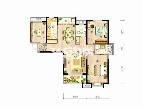 大华锦绣前城三室两厅一厨两卫123平米