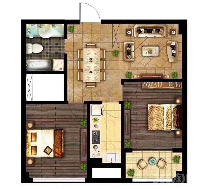 新区金都城2室1厅1卫80�O