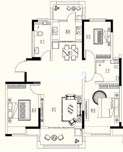 B-2户型 3室2厅2卫1厨