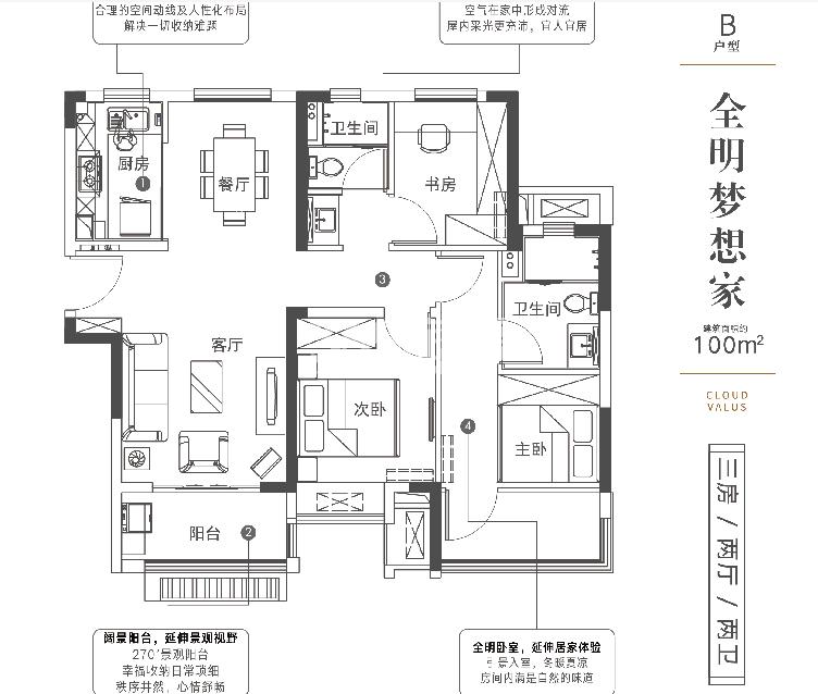 世茂云锦B户型100㎡三室两厅两卫