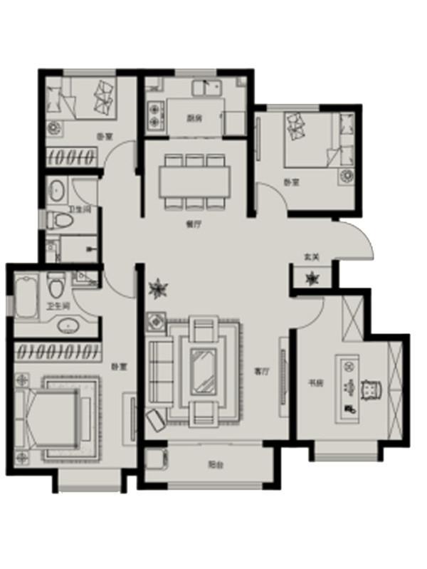 130平米四室两厅两卫