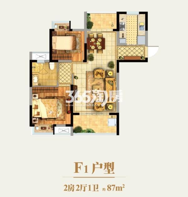 水漾花城F1户型 2室2厅1卫 87㎡