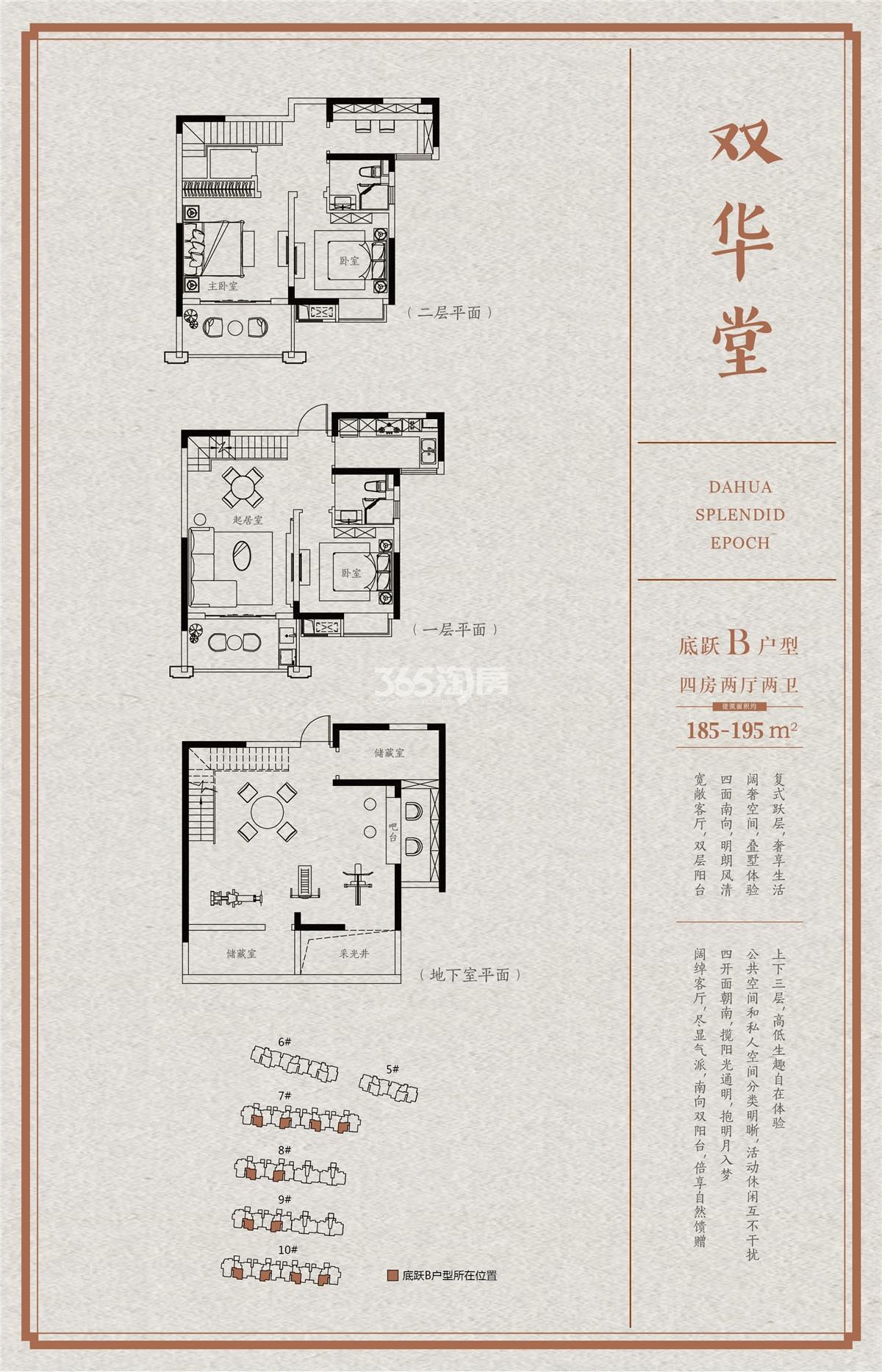 大华锦绣时代双华堂185-195㎡底跃B户型