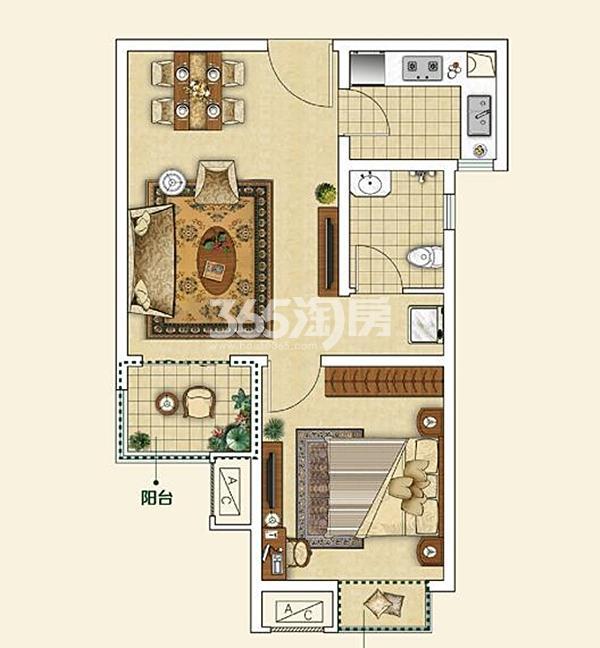 D户型 一室一厅一卫 面积约62.7㎡
