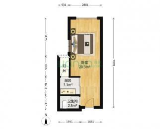 华邦繁华里1室1厅1卫39.07平米2017年产权房精装