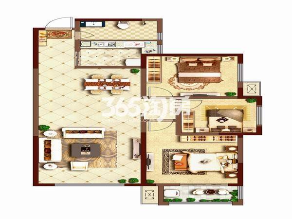 荣华碧水蓝庭三室两厅一厨一卫117平方米户型