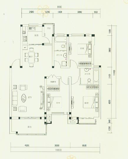 D3户型118平米三房两厅