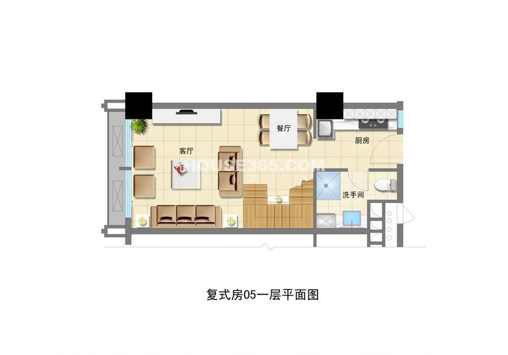 复式房05一层平面图图片