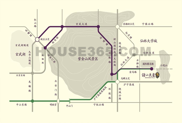 钟山美庐交通图