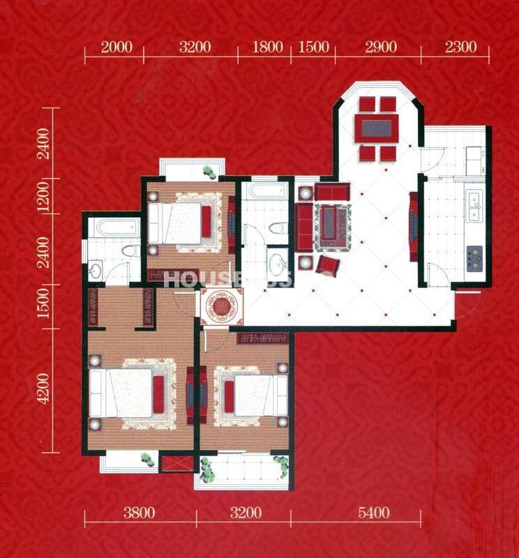 忆江南A1户型3室2厅2卫1厨 135.80㎡