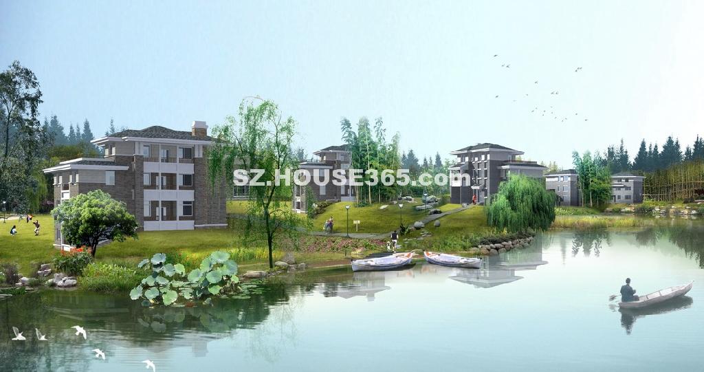 别墅水景手绘效果图