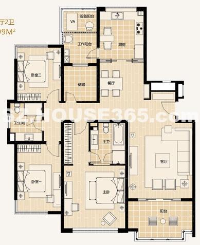 A2-4户型3房2厅2卫约175.5-180.99平米