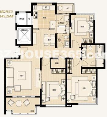 A4-3户型3房2厅2卫约142.98-145.26平米