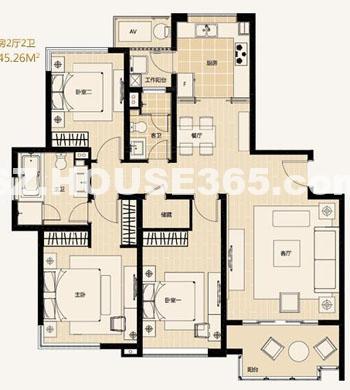 A4-4户型3房2厅2卫约142.98-145.26平米
