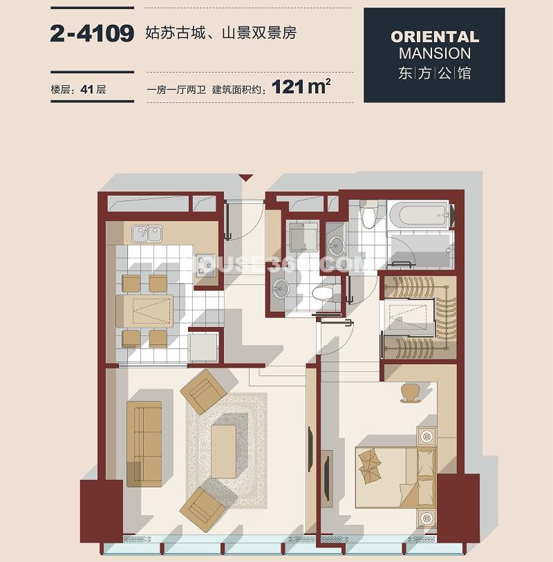东方之门 1房1厅2卫约121平
