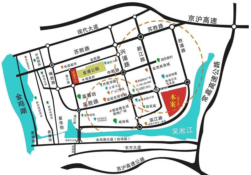 滨江苑交通图