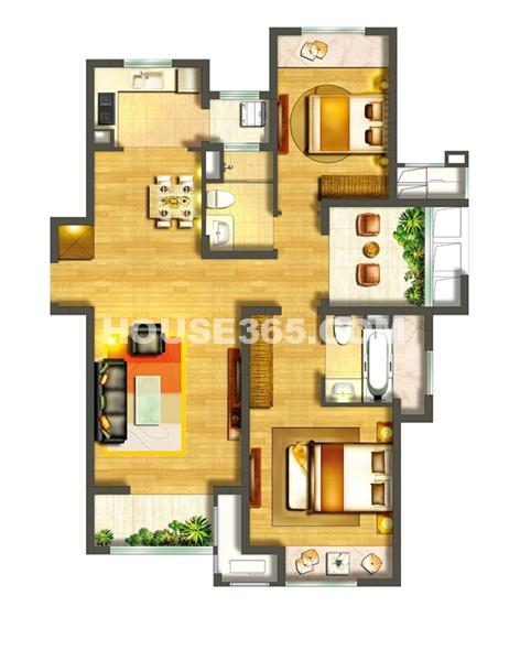 中海御景湾B2户型2+1室2厅2卫