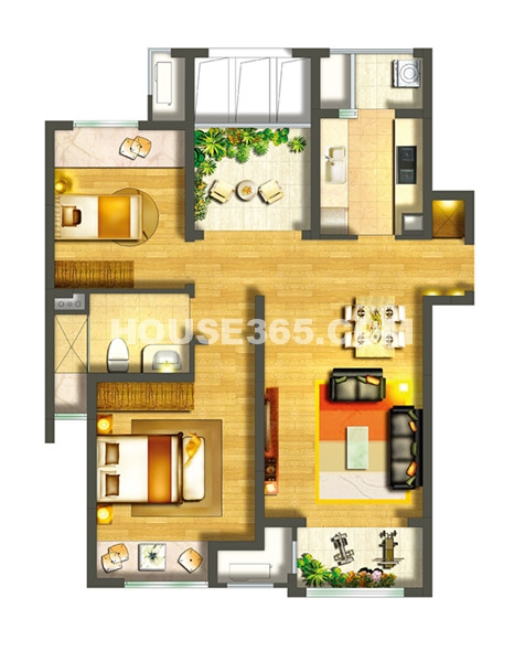 中海御景湾A7户型2+1室2厅1卫90平