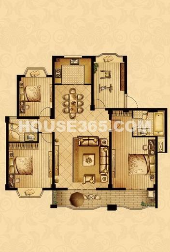 帝宝花园三室二厅二卫142.8平米E户型
