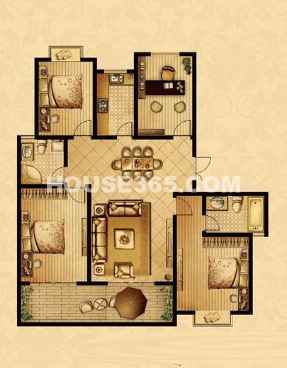 帝宝花园三室+1室二厅二卫152.3平米G户型