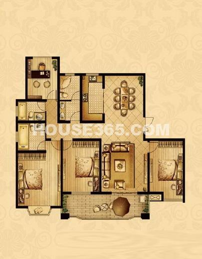 帝宝花园三室+1室二厅三卫175.8平米