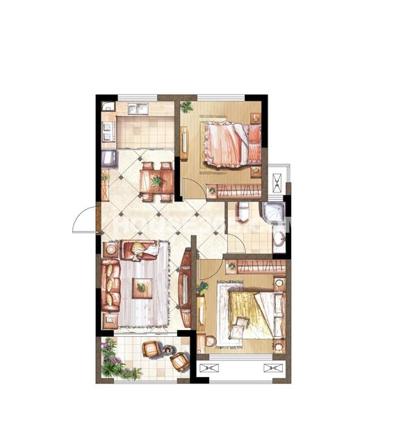 伟业迎春乐家C套型二十八层2房2厅1卫