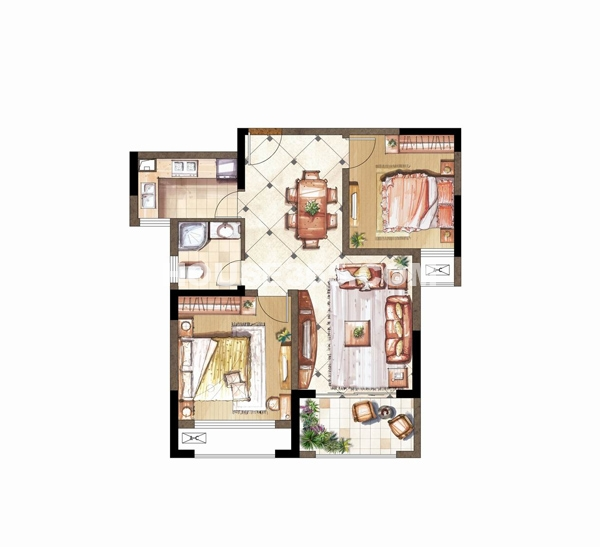 伟业迎春乐家B套型二十八层2室2厅1卫
