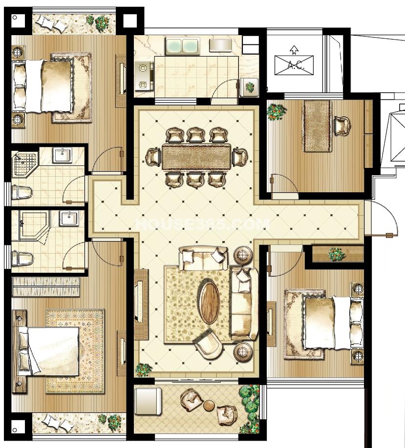 雅戈尔太阳城天邑D户型4室2厅2卫119-122平米