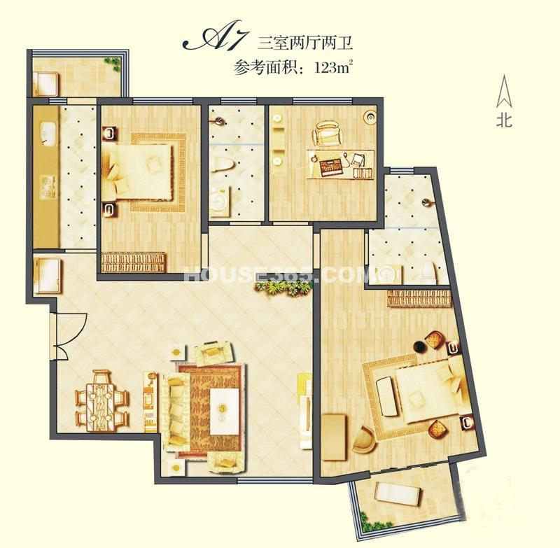 建邦华庭A7户型图3室2厅2卫1厨123.00㎡
