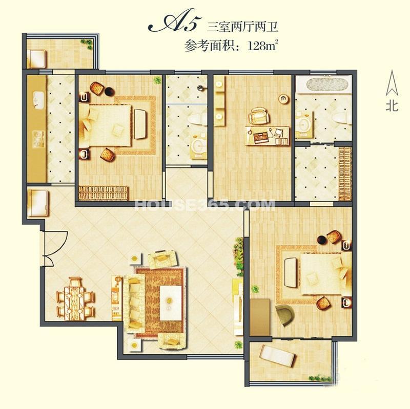 建邦华庭A5户型图3室2厅2卫1厨128.00㎡