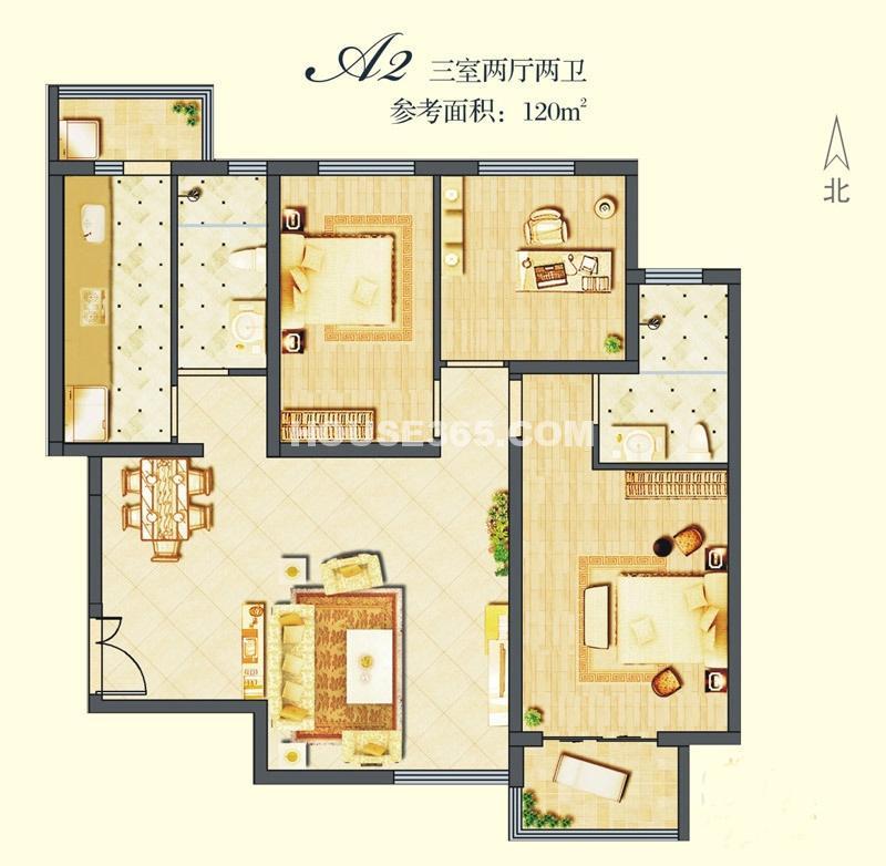 建邦华庭A2户型图3室2厅2卫1厨120.00㎡