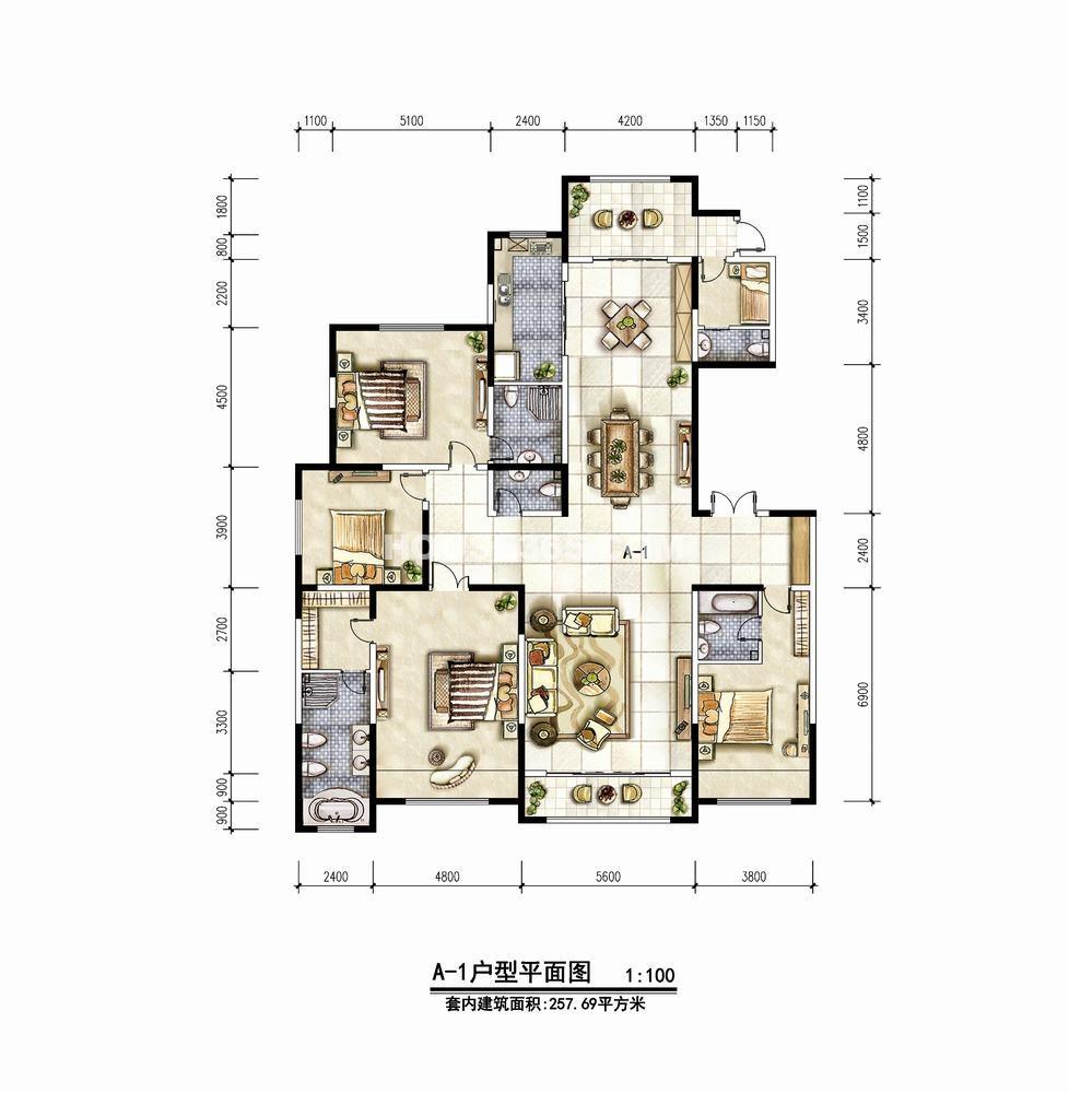绿地海珀紫庭A1户型五室三厅五卫户型图257.69㎡