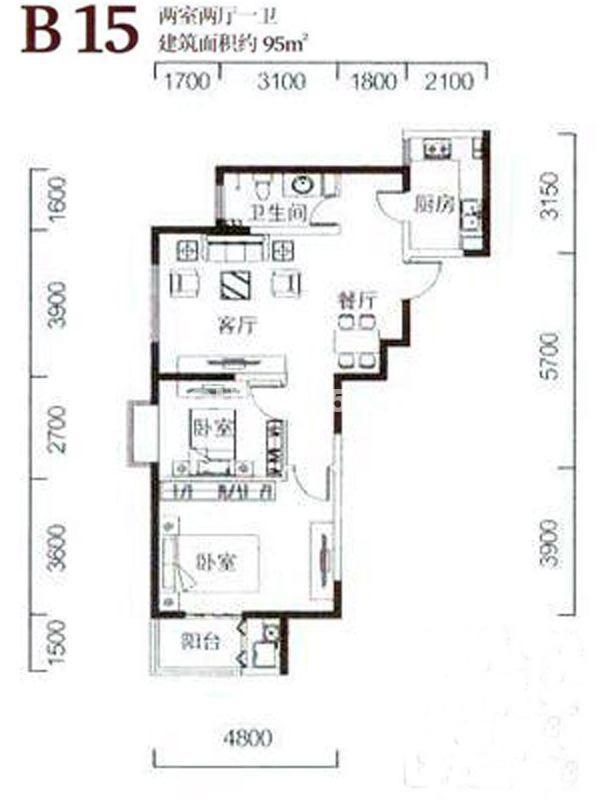 金泰怡景花园B15户型图2室2厅1卫1厨95.00㎡