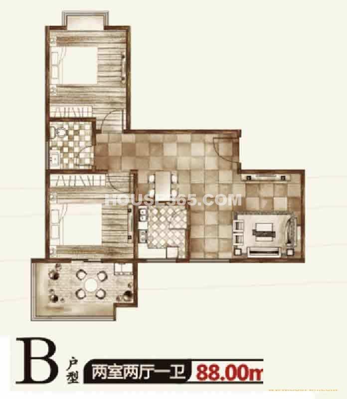 华宇凤凰城二期B户型两室两厅一卫88.00㎡