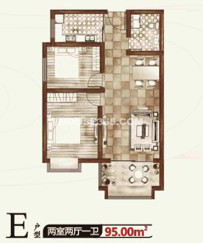 华宇凤凰城二期E户型两室两厅一卫95.00㎡