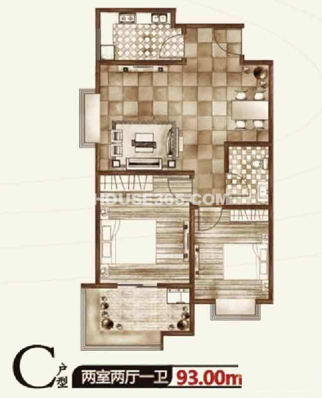 华宇凤凰城二期C户型两室两厅一卫93.00㎡
