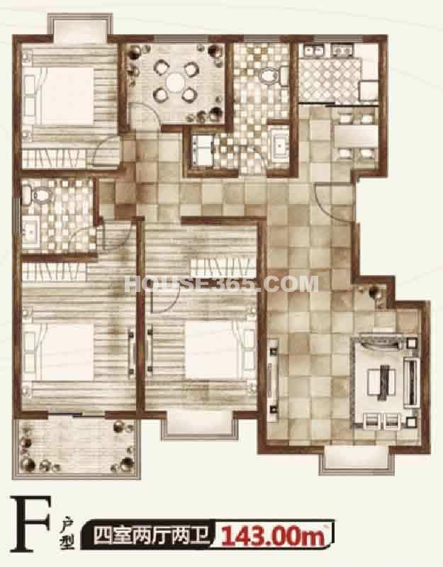 华宇凤凰城二期F户型四室两厅两卫143.00㎡