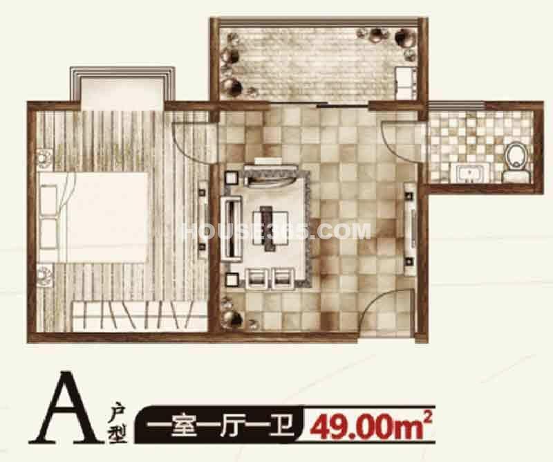 华宇凤凰城二期A户型一室一厅一卫49.00㎡