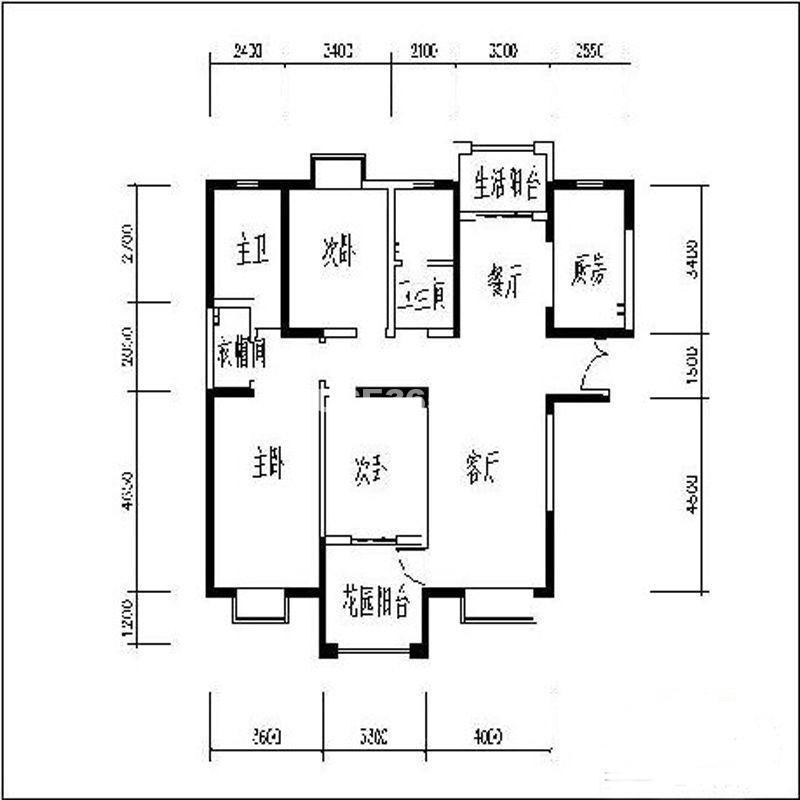 曲江观山悦户型图3室2厅2卫1厨 141.56㎡