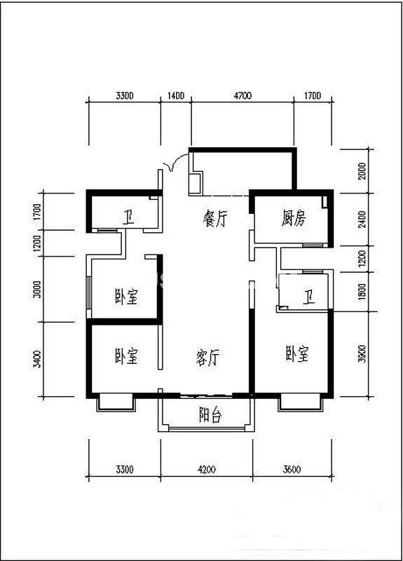 曲江观山悦户型图3室2厅2卫1厨 138.66㎡