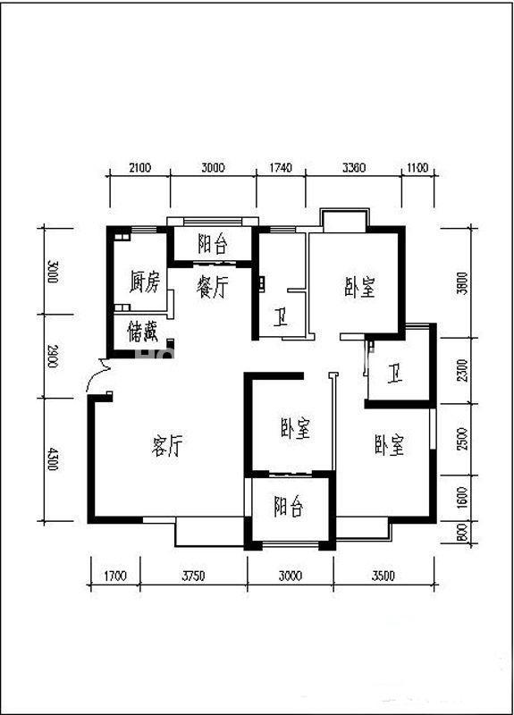 曲江观山悦户型图3室2厅2卫1厨 142.15㎡