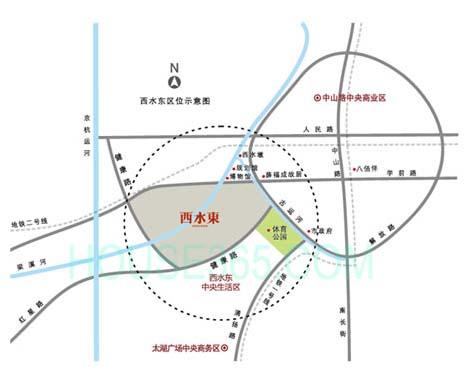 绿地西水东中央生活区区位图