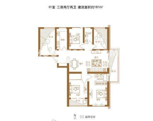 绿地西水东中央生活区5B6-181平米户型图